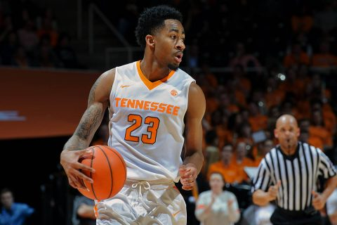 Tennessee Volunteers guard Jordan Bowden (23) brings the ball up court against the Vanderbilt Commodores during the first half at Thompson-Boling Arena. (Randy Sartin-USA TODAY Sports)
