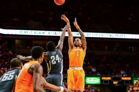 Tennessee Volunteers guard Lamonte Turner (1) shoots the ball as Iowa State Cyclones guard Terrence Lewis (24) defends during the second half at James H. Hilton Coliseum. Tennessee won 68-45. (Jeffrey Becker-USA TODAY Sports)