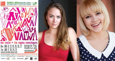 "Emily Rourke and Michelle Foletta appear in Eve Ensler's ""The Vagina Monologues"" in the Roxy Regional Theatre's theotherspace, January 12th - January 27th"