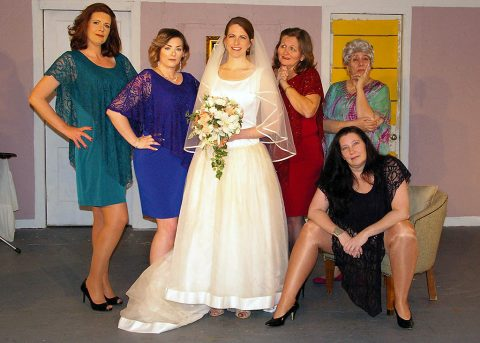 "The cast of ""Always a Bridesmaid"": (L to R) Amy Snider, Misty Rogers, Beth Kirby, Debbie Striclyn, Jan Dial and Shellene Kent."