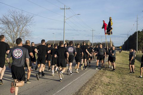 Following the attachment of an Iraq campaign streamer to the unit guidon Feb. 20, Soldiers assigned to 2nd Brigade Combat Team, 101st Airborne Division (Air Assault) celebrate with a brigade run at Fort Campbell, Kentucky.  The streamer was awarded to the unit for their contribution to Operation Inherent Resolve during their May 2016-January 2017 deployment to Iraq.  The brigade's primary mission was to advise and assist, train and equip the Iraqi security forces to fight and defeat the Islamic State of Iraq.  (U.S. Army photo by Sgt. Samantha Stoffregen)