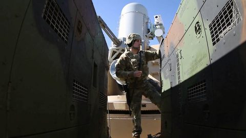 A Soldier in 2nd Battalion, 44th Air Defense Artillery performs a maintenance check during a mission rehearsal exercise at Thompson Hill Range Complex Feb. 8th. (Marie Berberea, Fort Sill Public Affairs)