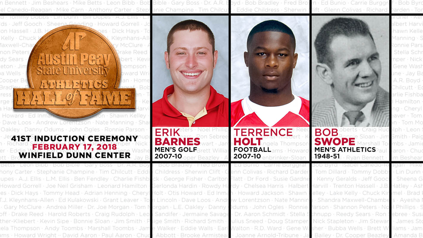 2018 Austin Peay Athletics Hall of Fame inductees Erik Barnes, Terrence Hold and Bob Swope. (APSU Sports Information)