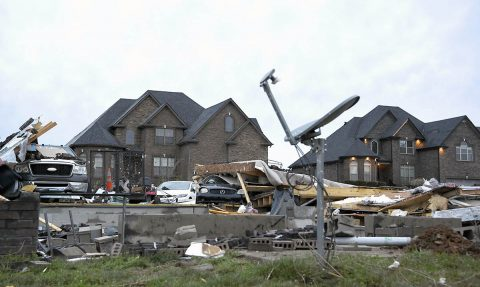 1A home at the corner of Covey Rise Circle and Green Grove Way is reduced to rubble after a fierce storm came through the Farmington subdivision on Saturday night. (Lacy Atkins/The Tennessean via USA TODAY NETWORK)