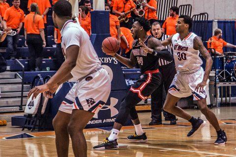 Austin Peay Men's Basketball senior Averyl Ubga has 28 points and 17 rebounds in win Thursday night over UT Martin. (APSU Sports Information)