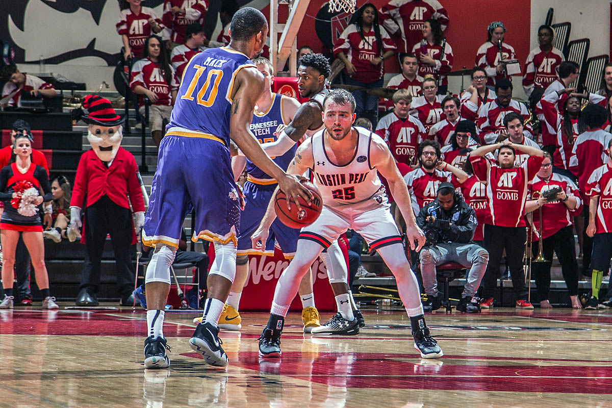 Austin Peay Men's Basketball loses to Tennessee Tech Golden Eagles Thursday night at the Dunn Center. (APSU Sports Information)