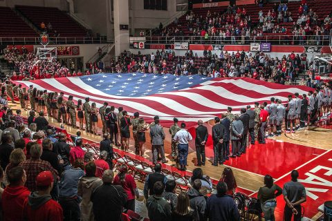 Austin Peay Men's Basketball beats Jacksonville State 60-57 on Military Appreciation Night at the Dunn Center Saturday night. (APSU Sports Information)