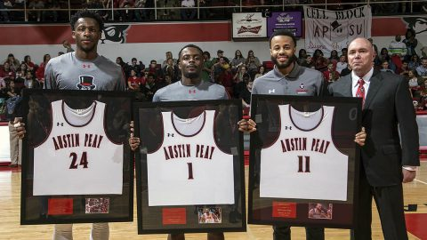 Austin Peay Basketball seniors Averyl Ugba, Tre' Ivory, and Ed Stephens were honored Saturday night. (APSU Sports Information)