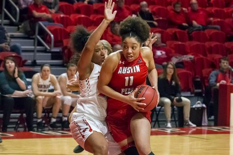 Austin Peay Women's Basketball senior center Brianne Alexander scores 26 points and had 7 rebounds in win over Southeast Missouri Saturday afternoon. (APSU Sports Information)