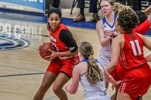 Austin Peay Women's Basketball senior Keisha Gregory knocks down a career high 27 points in victory over Eastern Illinois Saturday afternoon. (APSU Sports Information)