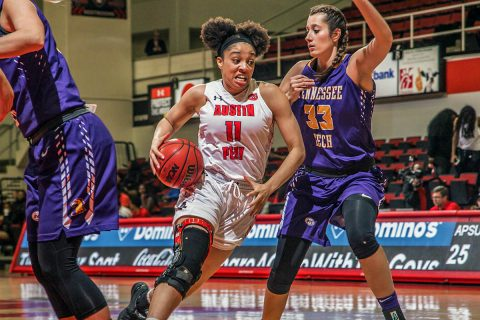 Austin Peay Women's Basektball senior Brianne Alexander had 14 points and 4 rebounds in win over Tennessee Tech Thursday at the Dunn Center. (APSU Sports Information)
