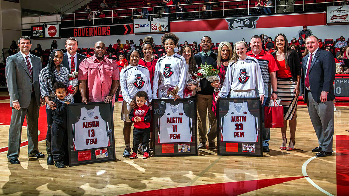 Austin Peay State University honor three Women Basketball seniors at Saturday's game against Murray State; (L to R) Bri Williams, Brianne Alexander and Falon Baker. (APSU Sports Information)