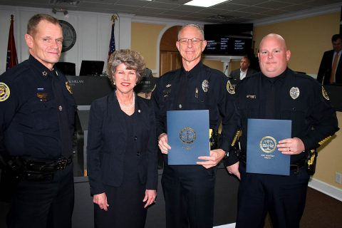 Clarksville Police Chief Al Ansley and Clarksville Mayor Kim McMillan presented proclamations February 1st to Officers Donald Gipson and Darren Koski for their heroic actions to remove a man from a burning house. On Friday the officers also received Medals of Valor from Chief Ansley.