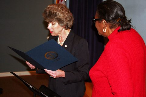 Servella Terry (right), widow of the late Rev. Jimmy Terry Sr., joined Clarksville Mayor Kim McMillan at the podium to present the Black History Month proclamation.