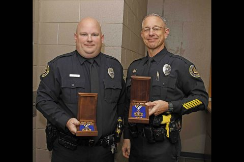 Clarksville Police Officers (L to R) Darren Koski and Donald Gipson with their Medal of Valors.