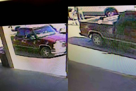Photos of the suspect's GMC pickup truck.