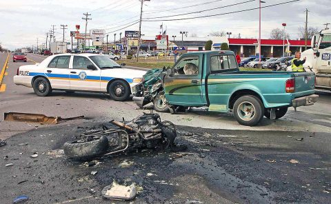 A motorcycle collided with a pickup truck Friday afternoon on Fort Campbell Boulevard. The motorcyclist died at the scene. (Jim Knoll, CPD)