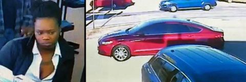 Clarksville Police are trying to identify the woman on the left in connection to credit card fraud. She was seen driving the vehicle on the right.