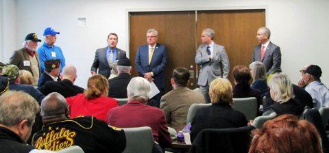 (From left) Steve Singleton, Bill Summers, Senator Mark Green, Speaker Pro Tempore Curtis Johnson, Senator John Stevens, and Representative Joe Pitts at Veterans Day on the Hill.
