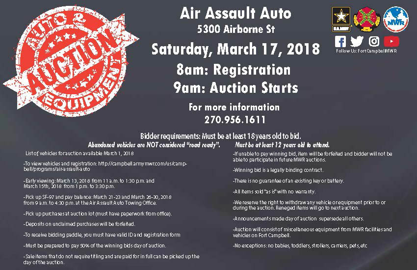 Fort Campbell MWR to hold Abandoned Vehicles and Equipment Open Bid Auction on March 17th