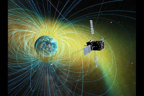Illustration of the ERG satellite in orbit. (ISAS/JAXA)