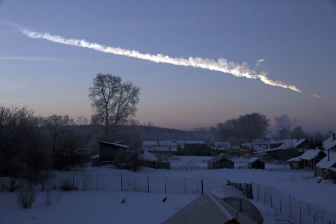This image of a vapor trail was captured about 125 miles (200 kilometers) from the Chelyabinsk meteor event, about one minute after the house-sized asteroid entered Earth's atmosphere. (Alex Alishevskikh)