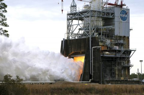 NASA preforms second hot fire of the Space Launch System (SLS) engine on February 1st at Stennis Space Center near Bay St. Louis, Mississippi. (NASA)