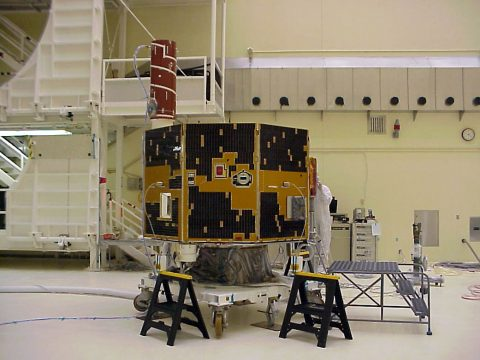 IMAGE spacecraft is tested prior to its March 2000 launch. (NASA)