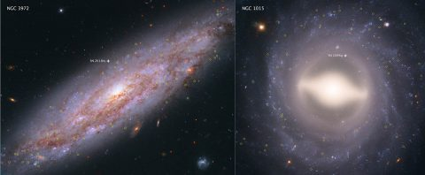 These Hubble Space Telescope images showcase two of the 19 galaxies analyzed in a project to improve the precision of the universe's expansion rate, a value known as the Hubble constant. The color-composite images show NGC 3972 (left) and NGC 1015 (right), located 65 million light-years and 118 million light-years, respectively, from Earth. The yellow circles in each galaxy represent the locations of pulsating stars called Cepheid variables. (NASA, ESA, A. Riess (STScI/JHU))
