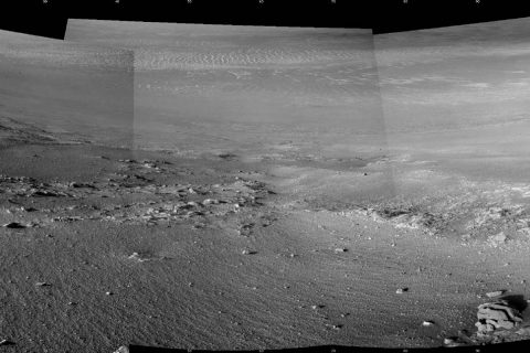 "Textured rows on the ground in this portion of ""Perseverance Valley"" are under investigation by NASA's Mars Exploration Rover Opportunity, which used its Navigation Camera to take the component images of this downhill-looking scene. The rover reaches its 5,000th Martian day, or sol, on Feb. 16, 2018. (NASA/JPL-Caltech)"