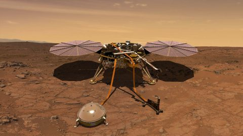An artist's rendition of the InSight lander operating on the surface of Mars. (NASA/JPL-Caltech)