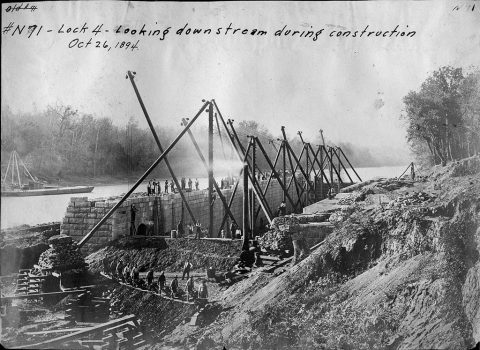 A Derrick arrangement is in the pit during the construction of Lock 4 Oct. 26, 1894 on the Cumberland River in Tennessee. The lock and dam were constructed to establish a navigation channel. The lock and dam were replaced by today's modern system of dams. (USACE Photo)