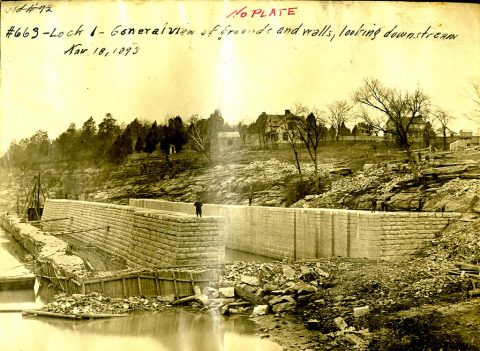 Lock 1 on the Cumberland River in Nashville, Tenn., is shown under construction Nov. 18, 1893. The U.S. Army Corps of Engineers Nashville District constructed the lock and dam to establish a navigation channel. This lock and dam was replaced by today's modern dam system. (USACE Photo)