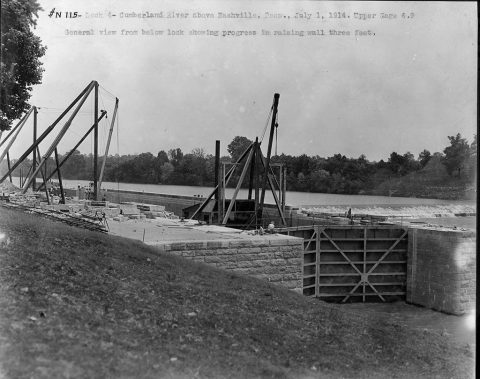 This is Lock 4 on the Cumberland River in Tennessee July 1, 1914. The U.S. Army Corps of Engineers Nashville District built the lock and dam to establish a navigation channel. The old locks and dams were replaced by today's modern dams. (USACE Photo)