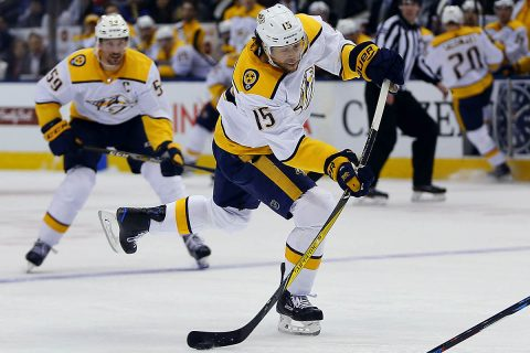 Nashville Predators forward Craig Smith (15) goes to shoot the puck against the Toronto Maple Leafs during the first period at the Air Canada Centre. (John E. Sokolowski-USA TODAY Sports)