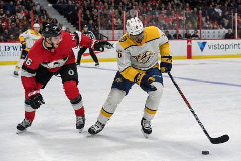 Nashville Predators defenseman P.K. Subban (76) skates with the puck with Ottawa Senators left wing Magnus Paajarvi (56) chasing in the second period at Canadian Tire Centre. (Marc DesRosiers-USA TODAY Sports)