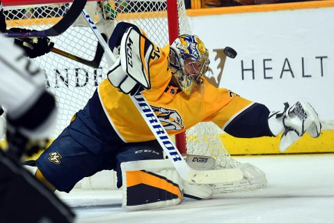 Nashville Predators goalie Pekka Rinne (35) makes a save during the second period against the Los Angeles Kings at Bridgestone Arena. (Christopher Hanewinckel-USA TODAY Sports)