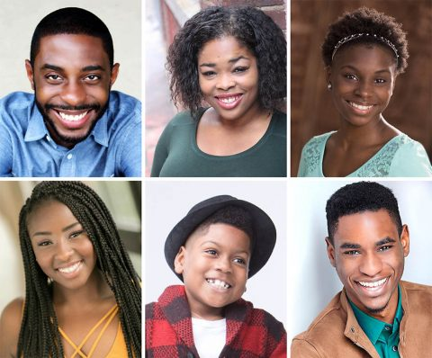 "Clockwise from top left: Ricardo Blagrove, Dwan Hayes, DaNiesha Carr, Rakeem Lawrence, Jeremiah West and DaMya Gurley star in Lorraine Hansberry's award-winning classic ""A Raisin in the Sun"" at the Roxy Regional Theatre, February 9th - February 24th"