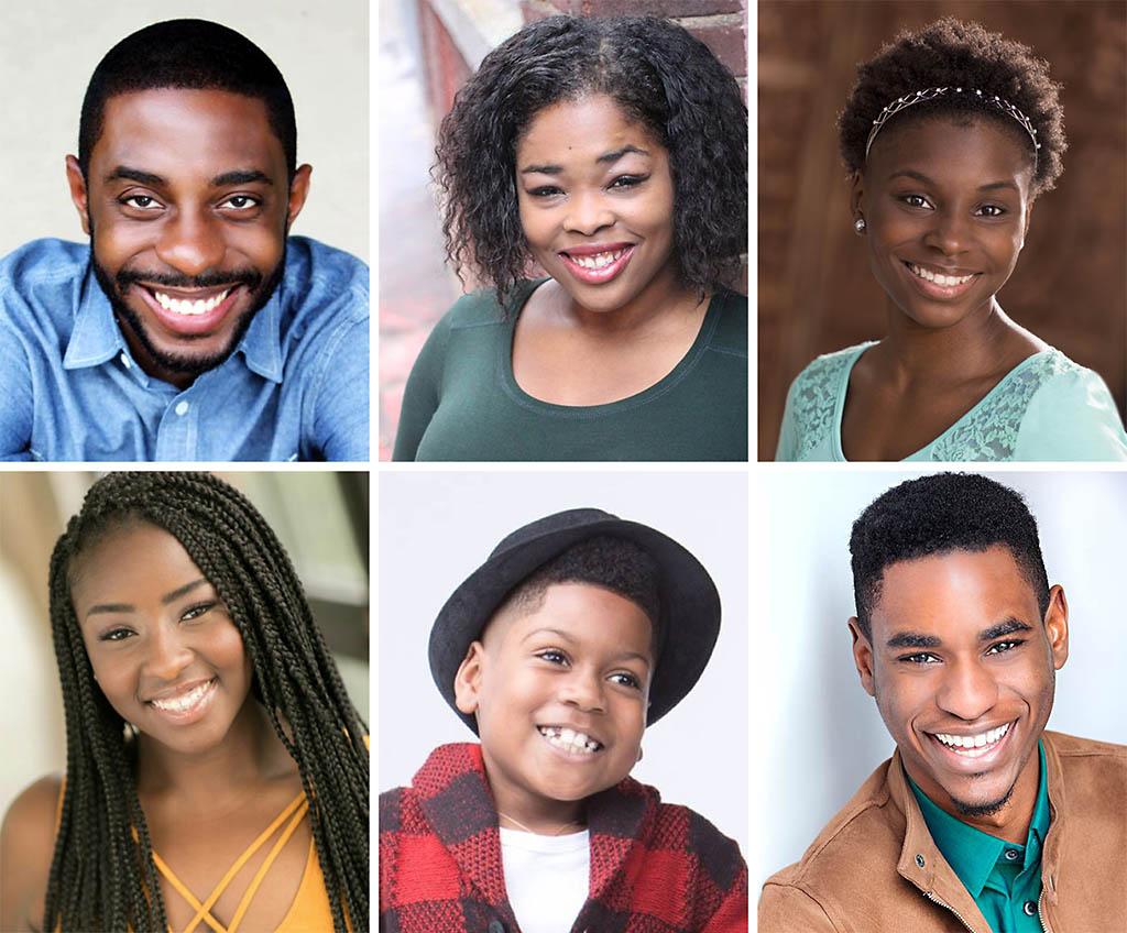 Clockwise from top left: Ricardo Blagrove, Dwan Hayes, DaNiesha Carr, Rakeem Lawrence, Jeremiah West and DaMya Gurley star in Lorraine Hansberry's award-winning classic