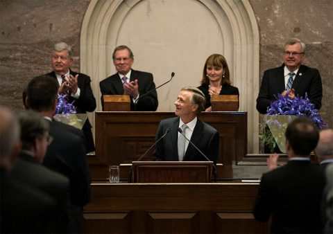 Tennessee Governor Bill Haslam giving his last State of the State address (foreground). Behind him from left, Lieutenant Governor Randy McNally, Speaker Pro Tempore of the Senate Ferrell Haile, Speaker of the House Beth Harwell, and Speaker Pro Tempore of the House Curtis Johnson.