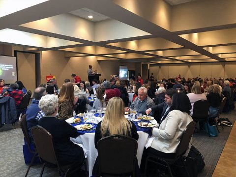 Blizzard attendees hear TnHTA Director of Tourism John Whisenant in Clarksville at the conference's opening lunch session.