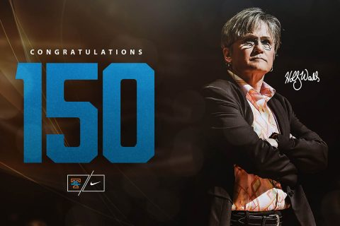 Tennessee Women's Basketball head coach Holly Warlick gets 150th career win Thursday night when the Lady Vols defeated Florida, 70-42. (Tennessee Athletics)