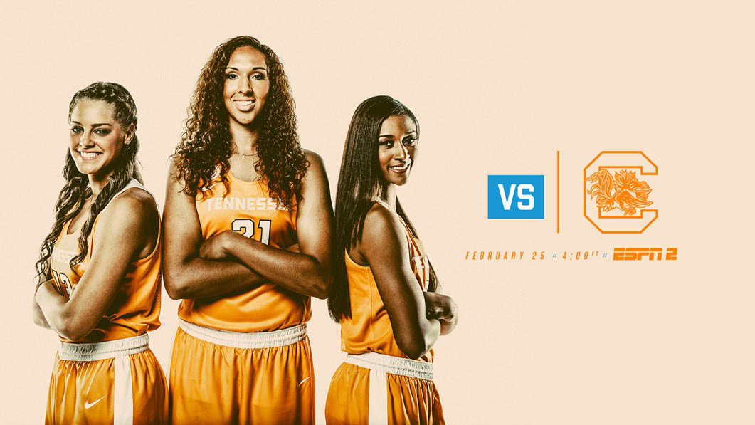 Tennessee Women's Basketball plays South Carolina at home Sunday. Tip off is at 3:02pm CT. (Tennessee Athletics)