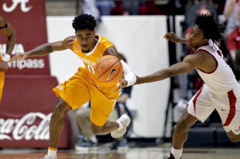 Tennessee Volunteers guard Jordan Bone (0) goes for the ball along with Alabama Crimson Tide guard Collin Sexton (2) during the first half at Coleman Coliseum. (Marvin Gentry-USA TODAY Sports)