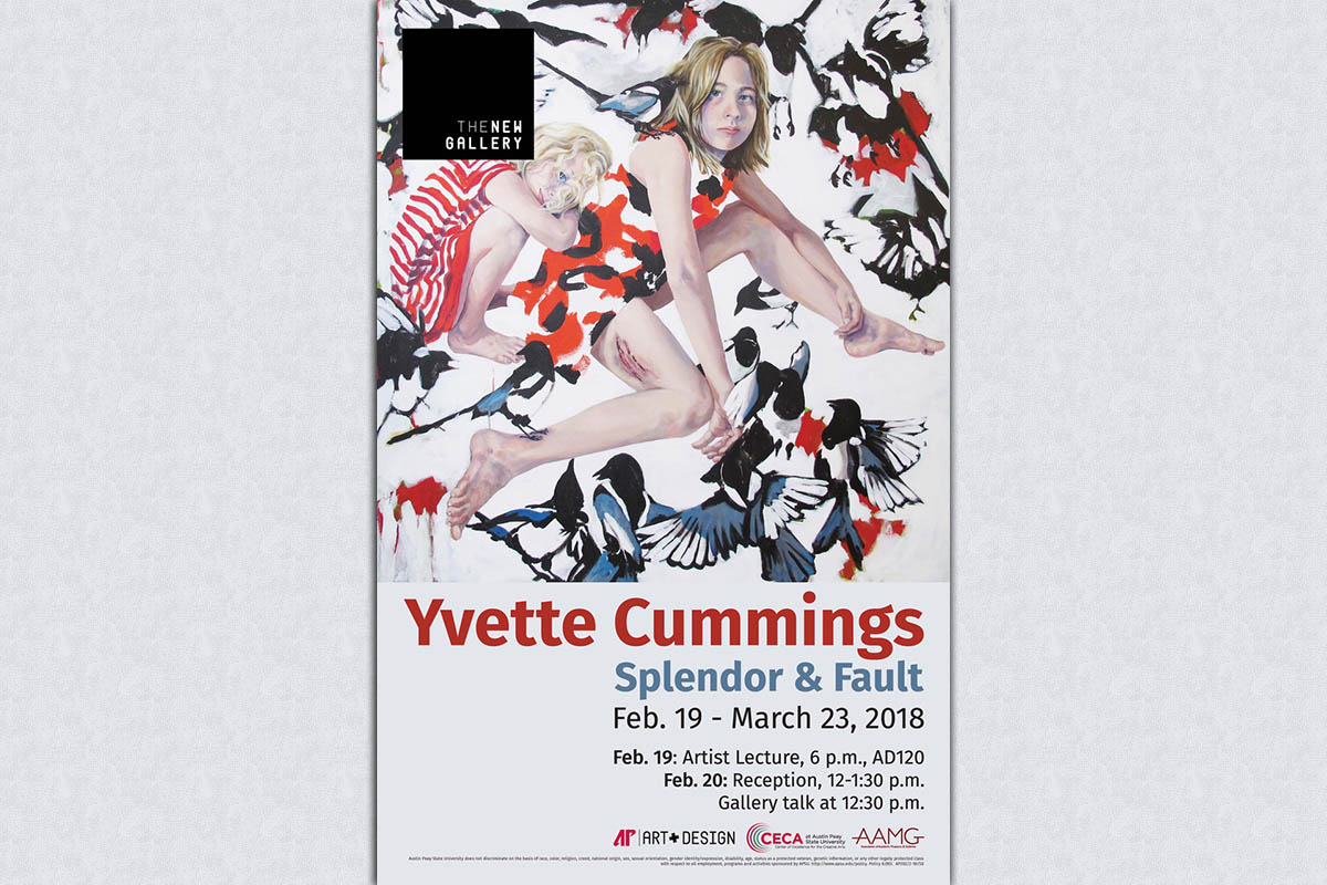 Yvette Cummings: Splendor & Fault to be exhibited at The New Gallery at APSU starting February 19th.