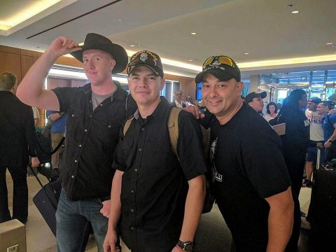 (L to R) Spc. Mitchell Bombeck, Sgt. Patrick Haney and Maj. James Pradke pose for a picture as they check-in to their hotel at the 2017 DoD Warrior Games. (Spc. Mitchell Bombeck)