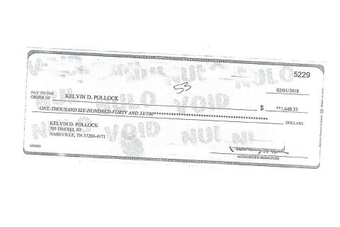Altered Check Kelvin Polock tried to Cash.