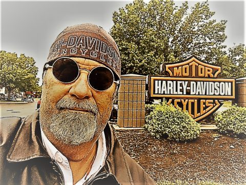 Hank at a Harley Davidson Dealership