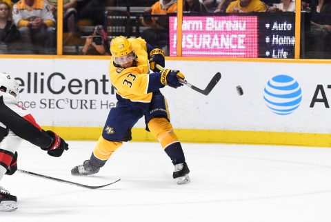 Nashville Predators left wing Viktor Arvidsson (33) takes a shot on goal against the Ottawa Senators during the third period at Bridgestone Arena. ( Steve Roberts-USA TODAY Sports)