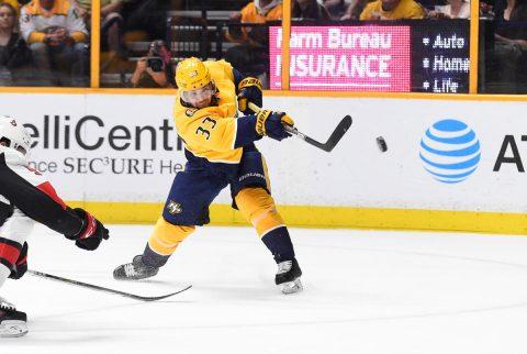 Nashville Predators left wing Viktor Arvidsson (33) takes a shot on goal against the Ottawa Senators during the third period at Bridgestone Arena. ( Steve Roberts-USA TODAY Sports)